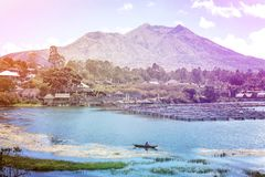 Active Indonesian volcano Batur on the tropical island of Bali. View of great volcano Batur. Beautiful landscape. Royalty Free Stock Images