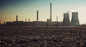 Active industrial area over field Royalty Free Stock Images