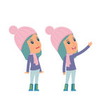 Active and Intelligent Character Winter Girl making presentation Royalty Free Stock Image