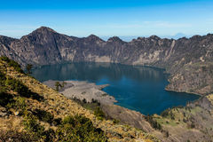 Active Jari Baru Volcano and Lake - Mt.Rinjani,Lombok, Asia Royalty Free Stock Images