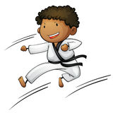 Active kid. Illustration of a young martial artist Stock Photography