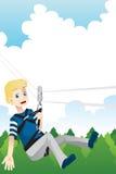 Active kid. A vector illustration of a kid enjoying a zipline activity Royalty Free Stock Photo