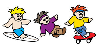 Active kid characters. A set of active kid characters Royalty Free Stock Photo
