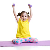 Active kid exercising isolated on white background Royalty Free Stock Photos