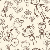 Active kid's outdoor recreation monochrome seamless pattern Stock Photography