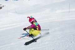 Active kid. At a ski resort Royalty Free Stock Photography