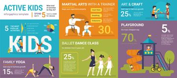 Active kids infographics vector illustration of children classes. With graphs and diagrams. Flat template of family yoga, martial arts, ballet class, crafts and vector illustration