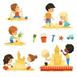 Active kids playing in the sandbox. Happy characters isolate vector illustration