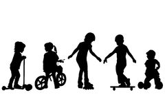 Active kids silhouettes. Over white background Stock Image