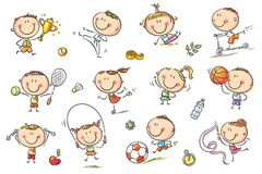 Kids and Sport. Active kids with sport things representing healthy lifestyle. No gradients used, easy to print and edit. Vector files can be scaled to any size vector illustration