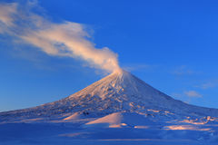 Active Klyuchevskoy Volcano at sunrise. Kamchatka Peninsula Royalty Free Stock Photography