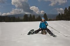 Active lady on winter outdoor Royalty Free Stock Photos