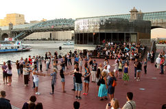 Active Learning evening dancing on the quay of Moscow river. Stock Photo