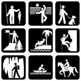 Active leisure. Set of silhouette icons on the active leisure stock illustration
