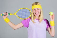 Active leisure and hobby. Tennis sport and entertainment. Tennis club concept. Girl adorable blonde play tennis. Sport. For maintaining health. Athlete hold royalty free stock photo