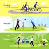 Active Leisure People Horizontal Banners. With sports events in spare time in flat style vector illustration royalty free illustration