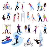 Active Leisure People Icons Set Royalty Free Stock Photos