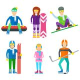 Active leisure people icons set Royalty Free Stock Photography