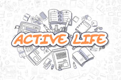 Active Life - Cartoon Orange Word. Business Concept. Royalty Free Stock Photography