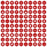 100 active life icons hexagon red. 100 active life icons set in red hexagon isolated vector illustration Royalty Free Stock Images