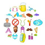 Active life icons set, cartoon style. Active life icons set. Cartoon set of 25 active life vector icons for web isolated on white background Stock Image