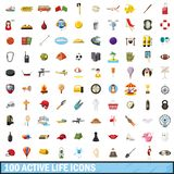 100 active life icons set, cartoon style. 100 active life icons set in cartoon style for any design illustration stock illustration