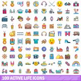 100 active life icons set, cartoon style. 100 active life icons set in cartoon style for any design vector illustration Stock Photography