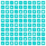 100 active life icons set grunge blue. 100 active life icons set in grunge style blue color isolated on white background vector illustration Stock Photo