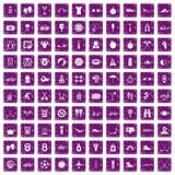 100 active life icons set grunge purple. 100 active life icons set in grunge style purple color isolated on white background vector illustration Stock Images