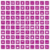 100 active life icons set grunge pink. 100 active life icons set in grunge style pink color isolated on white background vector illustration Royalty Free Stock Photography
