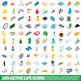100 active life icons set, isometric 3d style. 100 active life icons set in isometric 3d style for any design vector illustration Stock Image