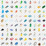 100 active life icons set, isometric 3d style Royalty Free Stock Photography