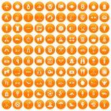 100 active life icons set orange. 100 active life icons set in orange circle isolated on white vector illustration Royalty Free Stock Photo