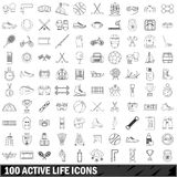 100 active life icons set, outline style Stock Photo