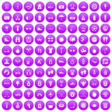 100 active life icons set purple. 100 active life icons set in purple circle isolated on white vector illustration Stock Image