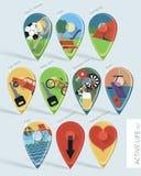 Active life map pins set Royalty Free Stock Photo