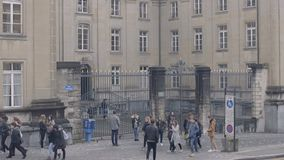 Active life near college building, students having rest, break between classes. Stock footage stock video