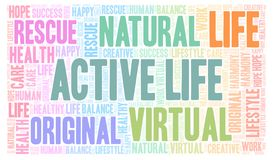 Active Life word cloud. Wordcloud made with text only royalty free illustration