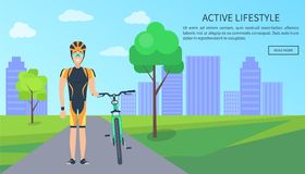Active Lifestyle Bicyclist Web Vector Illustration. Active lifestyle bicyclist, web page with text sample and button saying read more, man in helmet with bike Royalty Free Stock Images