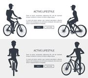 Active Lifestyle Bikes Set Vector Illustration royalty free illustration