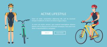 Active Lifestyle Blue Web Page Vector Illustration. Active lifestyle web page with bicyclists wearing uniform, helmet and glasses, text sample and button, vector Royalty Free Stock Photos