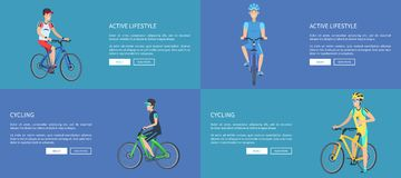 Active Lifestyle and Cycling Colorful Posters stock illustration