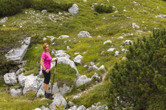 Active lifestyle - healthy lifestyle. Feeling good when walking. In nature. Outdoor activities hiking in the mountains. Daily walk in nature royalty free stock photos