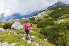 Active lifestyle - healthy lifestyle. Feeling good when walking. In nature. Outdoor activities hiking in the mountains. Daily walk in nature royalty free stock photography