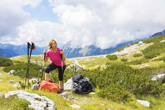 Active lifestyle - healthy lifestyle. Feeling good when walking. In nature. Outdoor activities hiking in the mountains. Daily walk in nature stock image