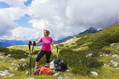 Active lifestyle - healthy lifestyle. Feeling good when walking. In nature. Outdoor activities hiking in the mountains. Daily walk in nature royalty free stock images