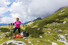 Active lifestyle - healthy lifestyle. Feeling good when walking. In nature. Outdoor activities hiking in the mountains. Daily walk in nature stock photography