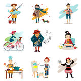 Active Lifestyle, Hobbies, Healthy Lifestyle Icons. Set isolated vector illustration Royalty Free Stock Image