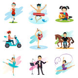 Active lifestyle, Hobbies, Healthy Lifestyle Set Royalty Free Stock Photography