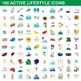 100 active lifestyle icons set, cartoon style. 100 active lifestyle icons set in cartoon style for any design illustration royalty free illustration